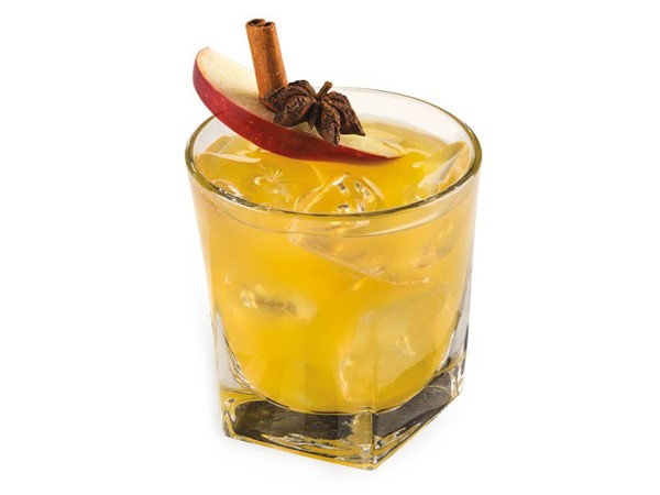 Glass of bourbon apple cider with ice, garnished with star anise, cinnamon stick and apple slice