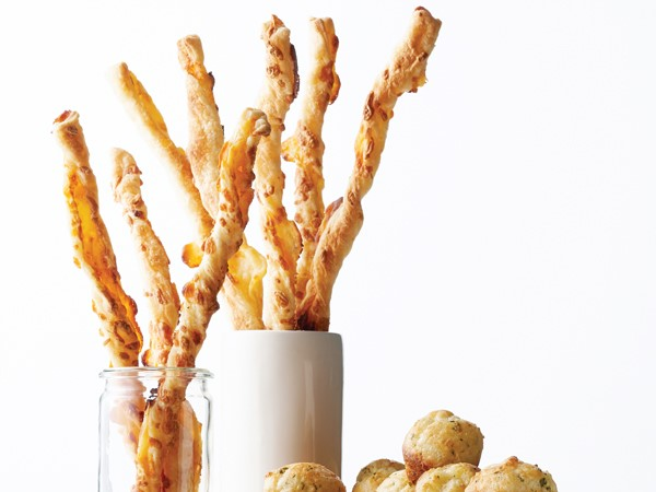 Two cups of crunchy, twisted cheese straws