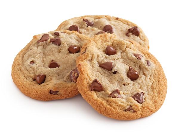 Three chocolate chip cookies