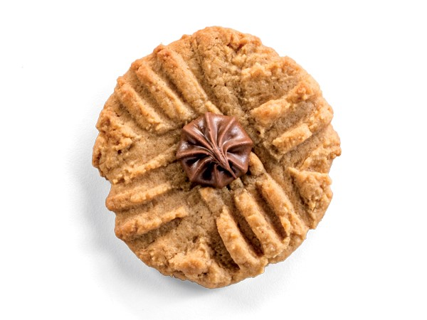Peanut Butter Cookies with Chocolate Candies Pressed in the Center