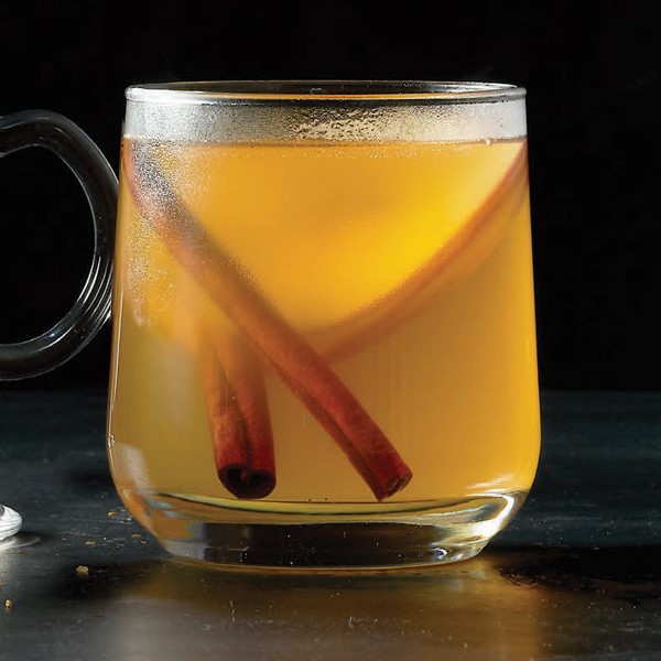 Glass mug filled with cider, cinnamon sticks and apple slices
