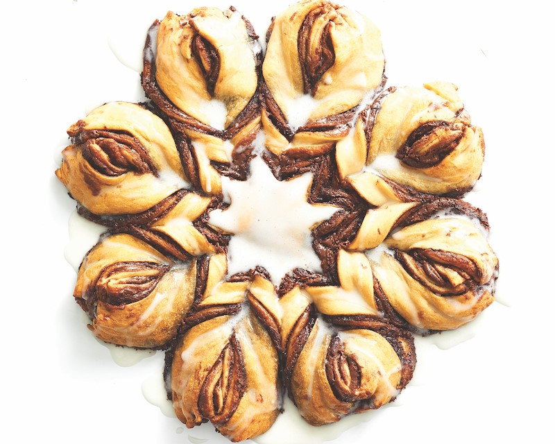 chocolate pull-apart bread shaped in a ring