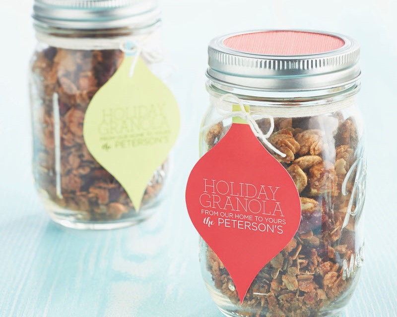 Granola packaged in mason jars with gift tags