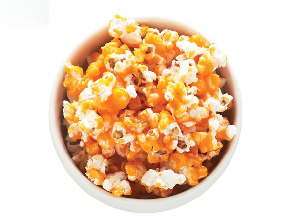 Bowl of candied fruit popcorn