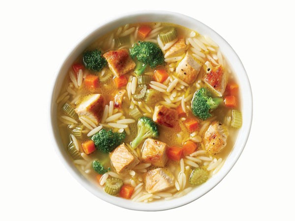 Bowl of chicken broccoli orzo soup