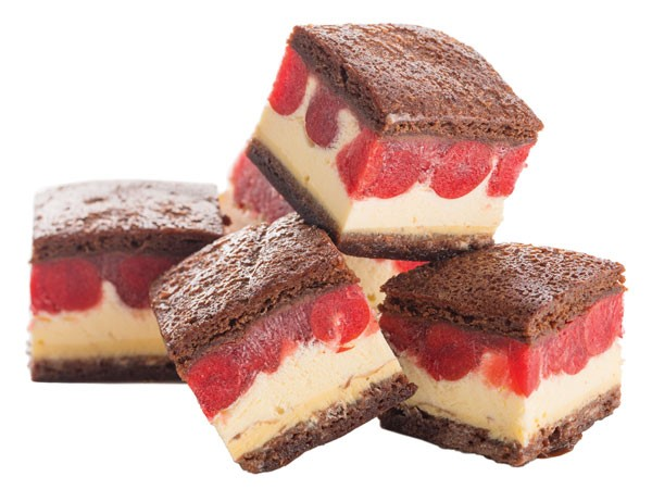 Brownie sandwich filled with vanilla ice cream and cherry pie filling