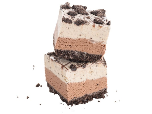 Two layers of ice cream on crushed chocolate-and-vanilla sandwich cookies topped with chocolate topping and crushed cookie crumbs