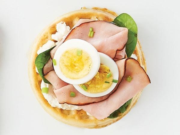 Ham and hard boiled egg breakfast waffle