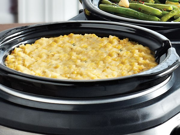 Slow cooker filled with corn casserole