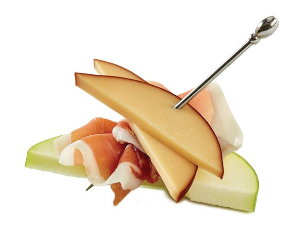 A smoked gouda, prosciutto and apple skewer