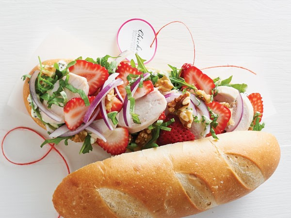 Chicken-strawberry poppy seed over a baguette sandwich