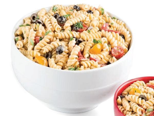 Bowl of creamy italian pasta salad
