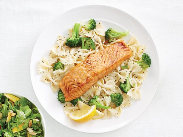 Honey-Ginger salmon over bow tie pasta and broccoli