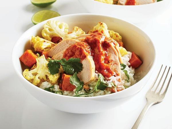 Bowl of chicken-veggie curry
