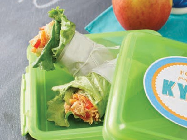 Plastic container of chicken lettuce wrap
