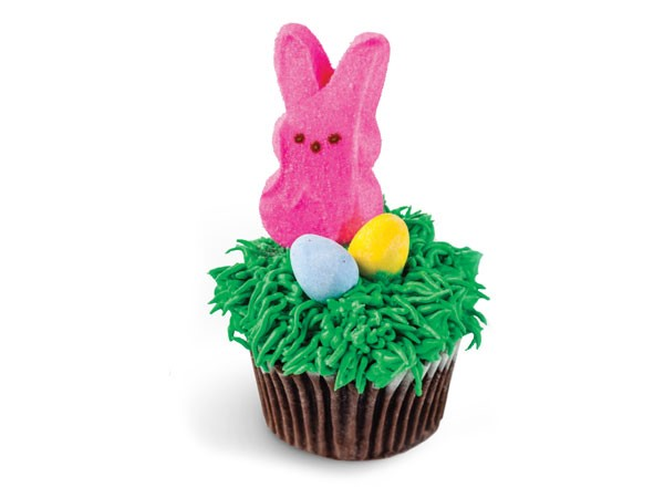 Cupcake topped with green frosting, chocolate eggs, and pink peep