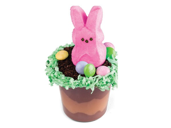 Pudding cup topped with peep and candy coated chocolates