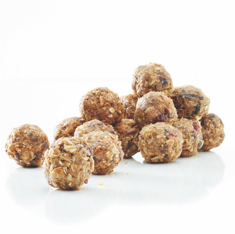 Pile of apricot-almond health balls