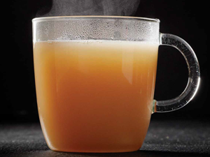 Clear mug of bone broth