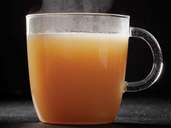 Clear mug of bone broth