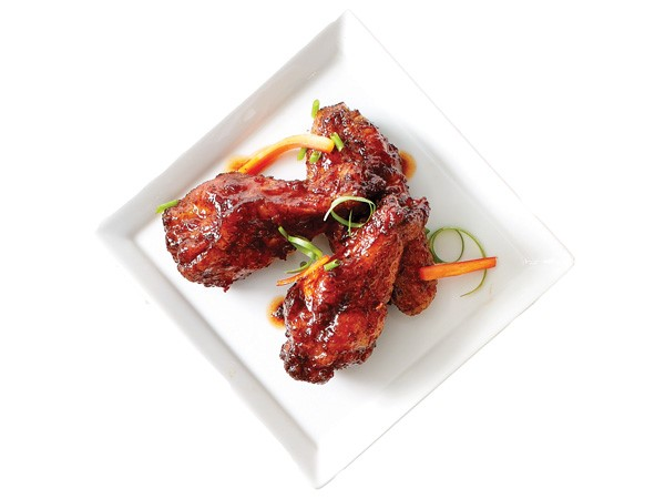 Plate of agave chipotle glazed chicken wings