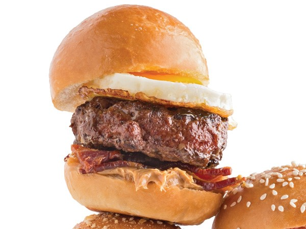 Burger with peanut butter, bacon, and egg
