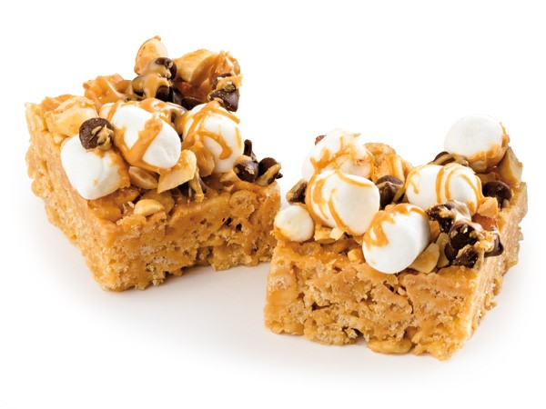 Crispy rice treat topped with marshmallows and chocolate chips