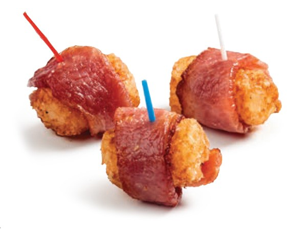 Bacon-wrapped tater tots skewered with red, white and blue toothpicks