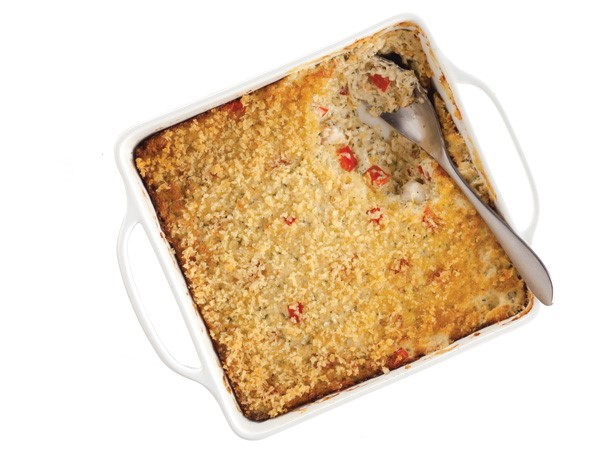 Dish of Crab Dip Topped with Ritz Cracker Crumbs