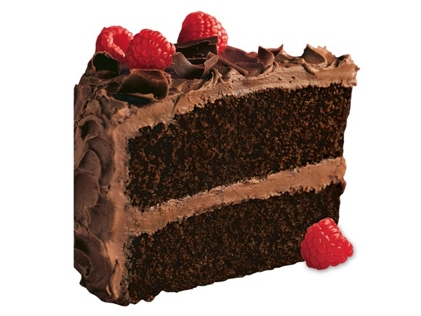 Super-moist chocolate cake garnished with fresh raspberries