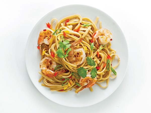 Shrimp, noodle, and vegetable pad thai