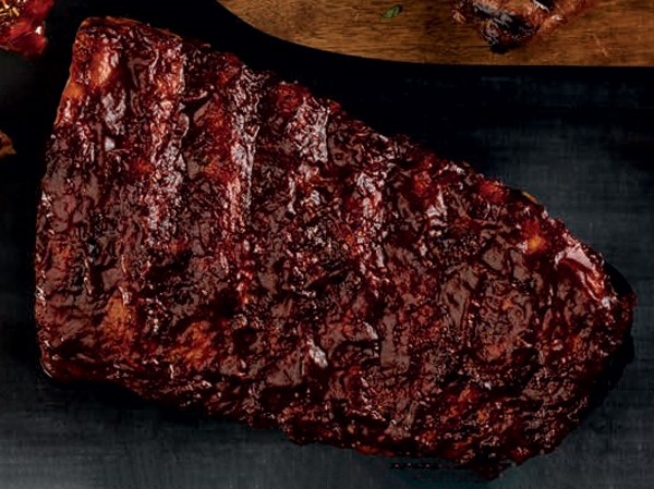 Ribs coated in barbecue sauce