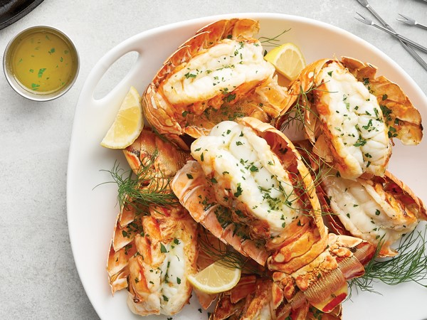 Plate of broiled lobster tails