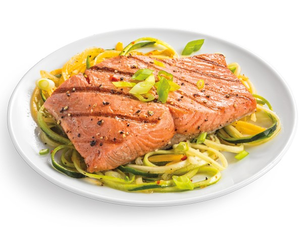 Grilled honey glazed salmon over zucchini noodles