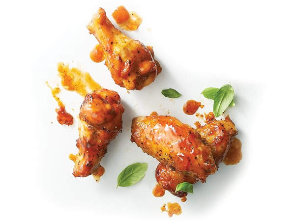 Apricot-glazed chicken wings