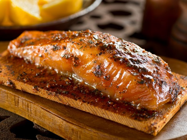 BBQ spiced salmon on a wooden plank