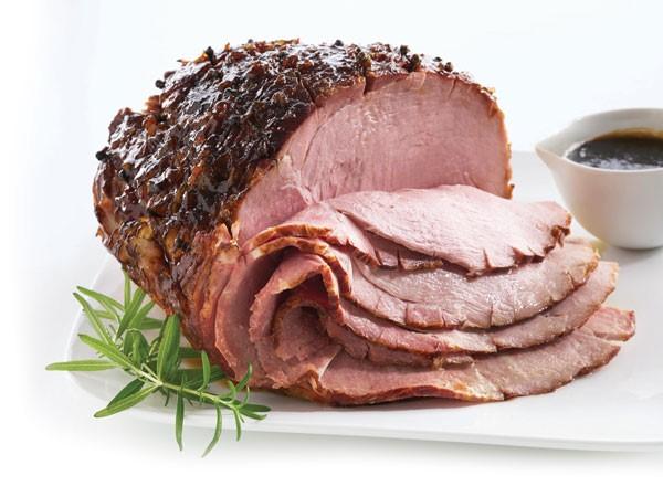 Honey bourbon glazed sliced ham