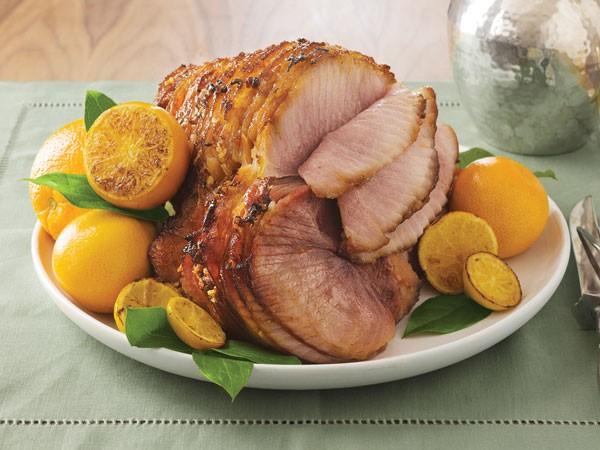 Glazed honey sliced ham with roasted citrus