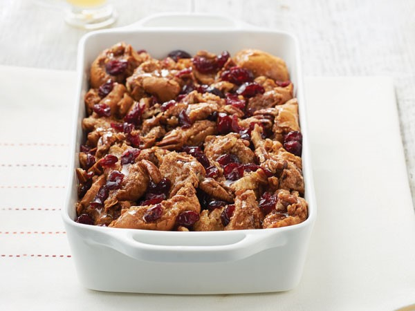 Casserole dish of baked bread pudding