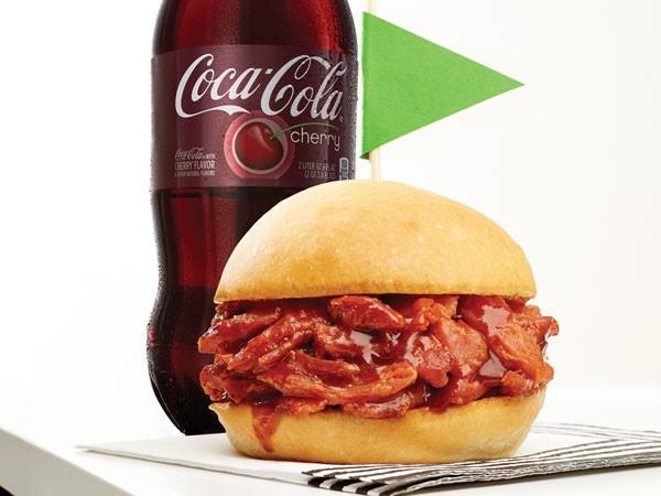 Cherry Coca-Cola pork sliders on a bun