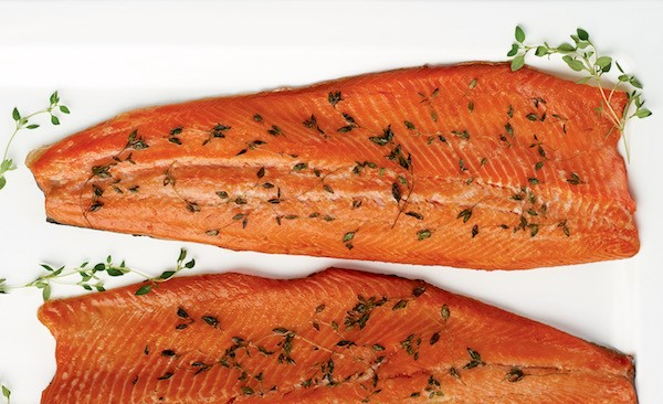 Brined and smoked salmon fillets