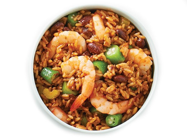 Bowl of cajun rice and shrimp