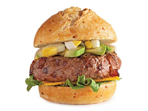 California cobb burger sandwiched between bun