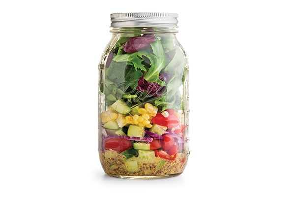 Salad in a large mason jar