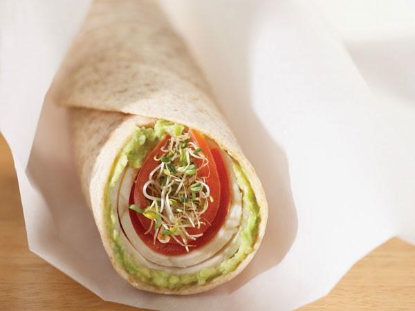 Avocado wrap on parchment paper