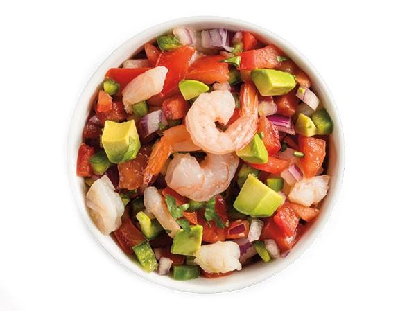 Bowl of avocado shrimp salsa