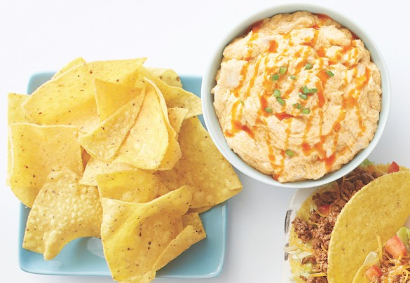 chips, dip and tacos