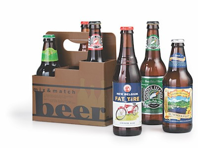 Mixed craft beer in cardboard beer carrier