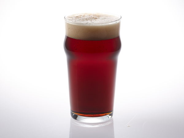 Brown ale in nonic pint glass