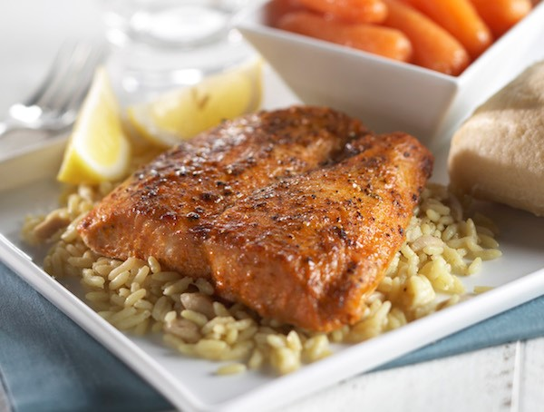 Chili-Rubbed Salmon over rice with carrots